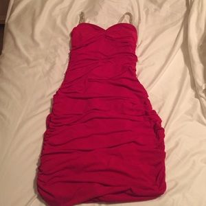 Red ruffled dress with jewel straps